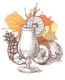 Pina Colada-cocktail vectorschets Stock Foto