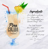 Pina colada cocktails watercolor. Pina colada cocktails drawn watercolor blots and stains with a spray, including recipes and ingredients on the background of Royalty Free Stock Photography