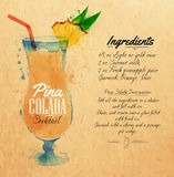 Pina colada cocktails watercolor kraft. Pina colada cocktails drawn watercolor blots and stains with a spray, including recipes and ingredients on the background Royalty Free Stock Photo