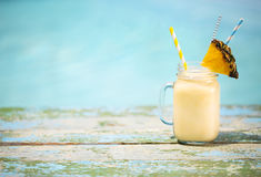 Pina colada. Exotic pineapple cocktail near pool. Pina colada stock photo