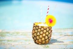 Pina colada. Exotic pineapple cocktail near pool. Pina colada stock image