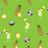 Pina Colada green vector seamless  pattern. Pineapple, coconut and Pina Colada. Stock Photos