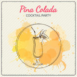 Pina Colada. Hand drawn vector illustration of cocktail. Colorful watercolor background Stock Image