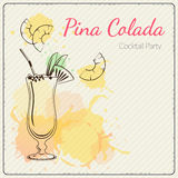 Pina Colada. Hand drawn vector illustration of cocktail. Colorful watercolor background Royalty Free Stock Image