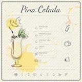Pina Colada Koktajlu infographic set również zwrócić corel ilustracji wektora kolorowa tło akwarela Fotografia Stock