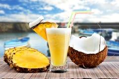 Pina Colada. Pinacolada pina colada cocktail with beach background stock photos
