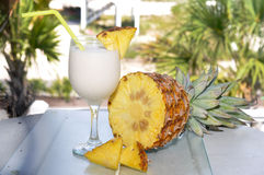 Pina Colada on Table with Pineapple Royalty Free Stock Photos
