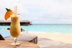 Pina colada on tropical beach Royalty Free Stock Photography