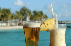 Pina Coladas on the beach Royalty Free Stock Photography