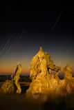 The Pinacles at Dawn. The Pinnacle formations appear in the morning light with a backdrop of stars Royalty Free Stock Images