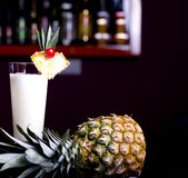 Pinacolada cocktail. Pinacolada milk cocktail on table in restaurant Royalty Free Stock Photos