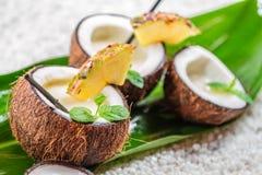 Pinacolada com as folhas de hortelã fresca seriu no coco Fotografia de Stock