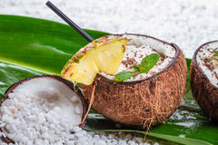 Pinacolada drink with chocolate in coconut Royalty Free Stock Photography