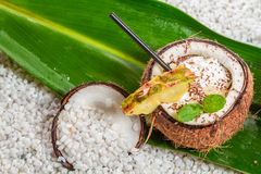 Pinacolada drink with chocolate and pineapple Royalty Free Stock Images