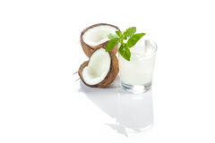 Pinacolada drink with mint leaf Royalty Free Stock Photography