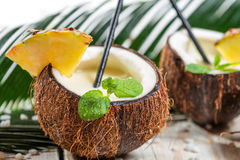 Pinacolada drink with mint served in a fresh coconut Stock Photography