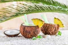 Pinacolada en coco con las hojas de menta Imagenes de archivo