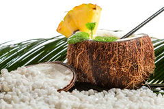 Pinacolada in the fresh coconut on beach Stock Images