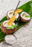 Pinacolada with pineapple served in a coconut Royalty Free Stock Images