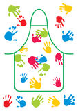 Pinafore hand. Pinafore with mark from the hand and pattern Stock Images