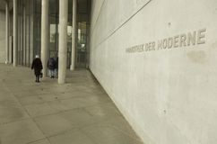 Entrance in Pinakothek der Moderne in Munich. Pinakothek of the Modern is a modern art museum, situated in central Munich`s Kunstareal. Locals sometimes refer to Royalty Free Stock Images