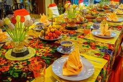 Pinang Peranakan Mansion, a museum containing antiques and showcasing Peranakans customs, interior design and lifestyles. Dining room in Pinang Peranakan Mansion Royalty Free Stock Photography