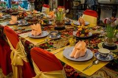 Pinang Peranakan Mansion, a museum containing antiques and showcasing Peranakans customs, interior design and lifestyles. Dining room in Pinang Peranakan Mansion Royalty Free Stock Photos