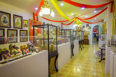 Pinang Peranakan Mansion, a museum containing antiques and showcasing Peranakans customs, interior design and lifestyles. Shoe collection in Pinang Peranakan Royalty Free Stock Photography