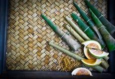 Pinangnoot met rieten achtergrond Stock Foto