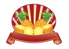 Pinapple Label. Label for products used apple, all elements grouped for easy editing Stock Image
