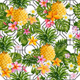 Pinapples and Tropical Flowers Geometry Background royalty free illustration