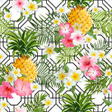 Pinapples and Tropical Flowers Geometry Background Stock Photo