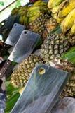 Pinapples y plátanos listos para la tajada foto de archivo libre de regalías