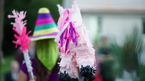 A pinata in the form of horses hanging on the rope. stock video footage