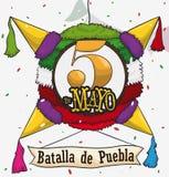 Pinata messicano tradizionale per Cinco de Mayo Celebration, illustrazione di vettore Fotografia Stock