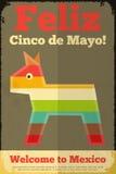 Pinata. Mexican Poster in Retro Style. Cinco de Mayo. Illustration