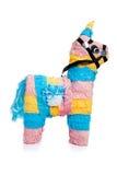 Pinata rose, bleu et jaune de burro sur le blanc photos libres de droits