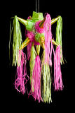 Pinata. Traditional pinata star shape from mexico isolated on black background, important part of parties and celebrations in mexican culture, very popular Stock Image
