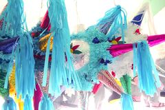 Pinatas star shape mexican traditional celebration Royalty Free Stock Photo