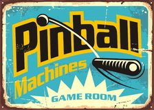 Pinball machines game room retro sign. Advertisement. Leisure flipper games vintage poster design. Vector illustration Royalty Free Stock Photography