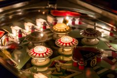 Pinball table close up view of vintage game machine.  Stock Photography