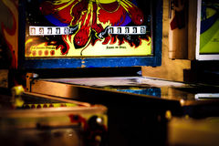 Pinball Tables Detail. Pinball machine tables all illuminated Stock Photography