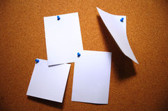 Pinboard. With white papers on pins Stock Photography