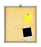 Pinboard. Isolated pinboard with adhesive note and photo frame Royalty Free Stock Photos