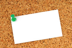 Pinboard. Brown pinboard with pinned memo Stock Photography