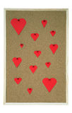 Pinboard with hearts. Pinboard with several hearts in different sizes Royalty Free Stock Photo