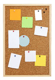 Pinboard isolated on white. Pinboard, vertical, with various blank notes, isolated on white Royalty Free Stock Photography