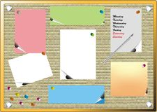 Pinboard labels with pen Royalty Free Stock Photo
