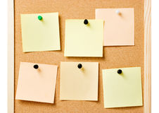 Pinboard with pinned notes Stock Photography