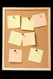 Pinboard with pinned notes Stock Photo